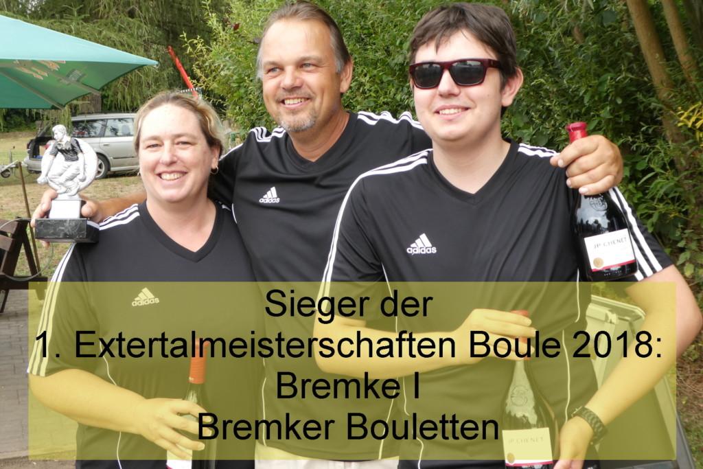Gewinner der 1. Extertalmeisterschaft Boule 2018